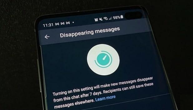 الرسائل المختفيه في تطبيق WhatsApp